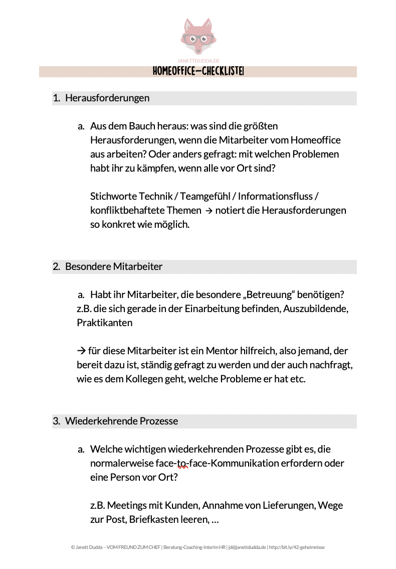 Checkliste Homeoffice